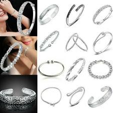 Women Jewelry Bangle Bracelet 925 Sterling Solid Silver Crystal Cuff Bracelet