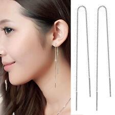 9-18cm Women 925 Sterling Silver Threader Long Tassel Link Chain  Earrings Gifts