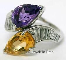 Platinum Diamond Amethyst & Citrine Ladies Ring Size: 5.75