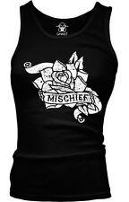Mischief Tattoo Flower Ribbon Trouble Maker Biker Bad Kid Get In Girls Tank Top