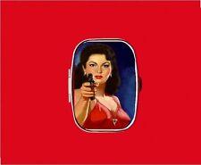 GUN MOLL PIN UP GIRL GANGSTER METAL PILL MINT BOX CASE