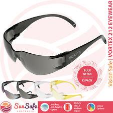 Safety Glasses 12 Pack Bulk Vortex 212 Vision Safe Medium Impact Industrial Safe