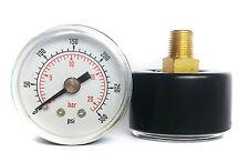 Pressure Gauge 50mm Dial 1/4 BSPT Horizontal 0/15,30,60.100,160,300 PSI & Bar.