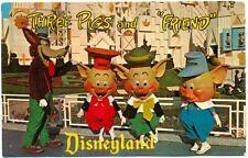 1960s ANAHEIM, CA, THREE LITTLE PIGS, BIG BAD WOLF, DISNEY, DISNEYLAND POSTCARD