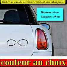stickers autocollant LOVE HEART INFINITY LOVE deco voiture, frigo, porte , ipad