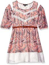 My Michelle Girls Lace Trim Cold Shoulder Paisley Print Dress Belt Coral 8 10 16