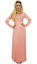 Robe Islamique Longue Rayee Maxi Abaya Jilbab Peach de Bimba Femmes Avec Hijab