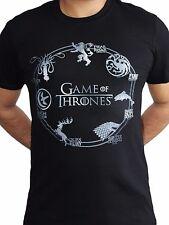 Game of Thrones Silver Sigils House Crests Stark Lannister Black Mens T-shirt