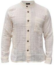 Hombre Algodón Cuadros con Textura Botones Cuello Mao Camisa Bohemio Manga Larga