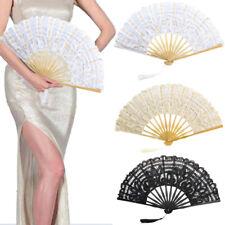 Wedding Bridal Foldable Lace Fan Pocket Hand Fan Flower Party White Ivory Gift