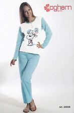 Pijama de mujer Largo Serafino. Pantalones + Manga OGHAM, 24938 Puro Algodón