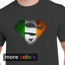 Ireland Flag Superman Logo Shield Mens T-shirt, Gaelic Irish DC Comics Tee