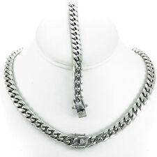 Men's Silver Finish Close Tight Miami Cuban Chain Bracelet Triple Box Lock 10mm