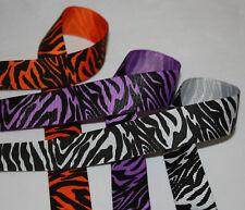 Silver, Purple, Orange ZEBRA ANIMAL Grosgrain Ribbon
