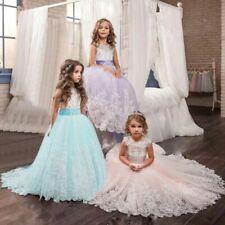 New Long Princess Wedding Girls Dress Pageant Maxi Bridesmaid Party Kids Clothes