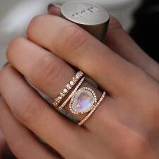 Women Moonstone Crystal Three Circle Large Fake Rhinestone Round Shiny Ring SH