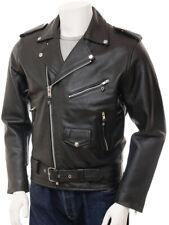 Men's Black Leather Jacket Biker Motorcycle Size S M L XL