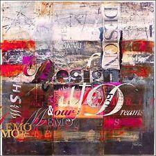 Michael Tarin: Deja Vu Pink Keilrahmen-Bild Leinwand abstrakt modern Schrift
