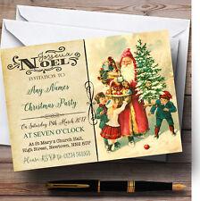 Noel Vintage Postcard Santa & Kids Personalised Christmas Party Invitations