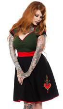 Sourpuss Dagger Dollface Olive Green Tattoo Punk Rockabilly Womens Dress SPDR353