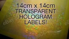 HUGE TRANSPARENT Security Hologram Stickers Labels, 14cm Square, Signature