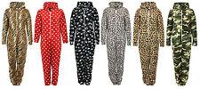 Men's and Ladies Warm Fleece Hooded Zip-up Design Print Onesie Jumpsuit Playsuit