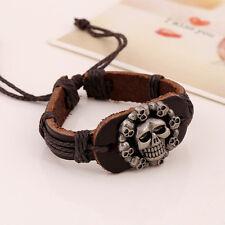 Brown Adjustable Leather Multi Skulls Rope Bracelet/Wrist band/Arm band/7.5 Inch
