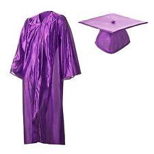 Shiny Purple Graduation Cap and Gown Set