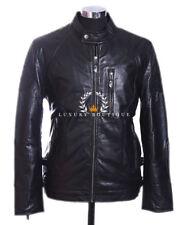 Erpel Schwarz Herren's Smart Vintage Style Echtes Weiches Lammfell Leder Jacke