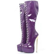 Women Metal Stiletto Heel Platform Knee High Boots Magic High Heel Lace Up Shoe