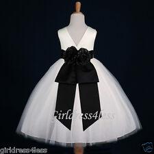 IVORY/BLACK WEDDING FORMAL GOWN FLOWER GIRL TULLE DRESS 12M 2 3/4 5/6 7/8 10 12