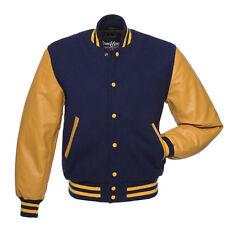 Stewart & Strauss Navy Blue Wool & Gold Leather Varsity Letterman Senior Jacket