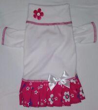 White & Raspberry Turtleneck Knit Dress Dog Puppy Pet Clothes XXXS - Small
