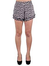 Women Soft Cheetah Print Elastic Shorts Casual High Waist Skinny Short Pants