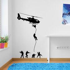 Hélicoptères Armée Hommes Parachute soldats Militaire Autocollant Mural Enfants