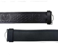 Black Leather Kilt Belt Buckle Thistle Embossed Plain with Stag Head Buckles/M,L
