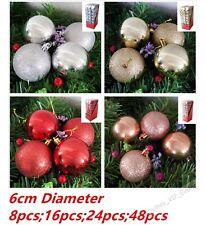 48 CHRISTMAS TREE BAUBLES DECORATION BAUBLE 6cm GLITTER PARTY ORNAMENT DECOR
