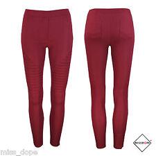 NEW DARK RED SKINNY PLEATED WOMENS PANTS WOMEN BURGUNDY SIZE 8 10 12 SLIM CASUAL