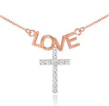 14K Dos Tonos Oro Rosa Amor Cruz Collar de Diamantes