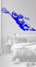 Vinyl Wall Art decalcomania Sticker Calcio Goal Keeper Blu Per Bambini Camera Da Letto Calcio