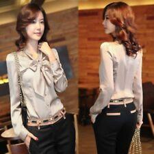 Womens Chiffon Office OL Shirt Tops Bow-knot Long Sleeve Slim Blouse Plus Size