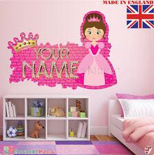 Princess 01 Nome Personalizzata Adesivo Parete Stanza Bambini Decalcomania Vinile in tessuto UK