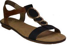 RIEKER Schuhe Sandalen Riemchen Sandaletten Flats braun blau NEU