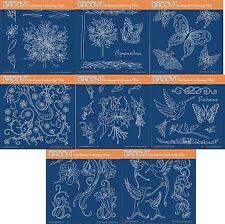 Clarté des timbres Groovi parchemin embossage A5 plaque Jayne Nestorenko fleurs