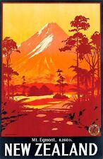 Vintage Nueva Zelanda Monte Egmont Turismo cartel A3 impresión