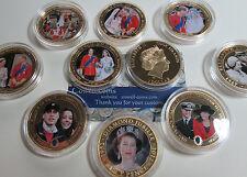 Varias monedas de prueba Royal pictórica $1/1 Corona se & Kate, Queen, 2000 - 2012