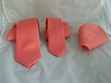 """Coral-saumon en polyester pour homme Cravate & Mouchoir > CLASSIC > 3.3"""" ou Skinny > 2.5"""" ou Noeud Papillon"""