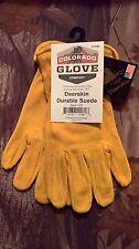 Colorado Glove Company Suede Split Deerskin Work Riding Gloves Deer Leather