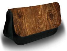 Vintage Wood Pencil Case Bag Stationery School Wooden Design Brown Tree D318