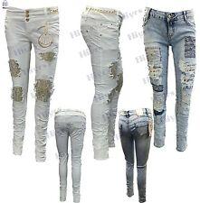 Da Donna Pizzo jeans sexy skinny ripped ELASTICO GIRL DENIM dimensione lotto 8-14 RAZOR Cut